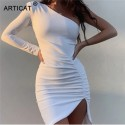 Off One Shoulder Sexy Party Dress Women Pleated Split Bodycon Mini Ruched Dress